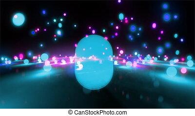 blue color tone light balls falling