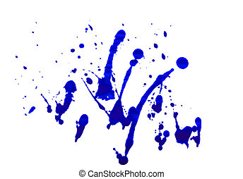 blue color Watercolor abstract art and watercolour splash stain on paper white grunge style