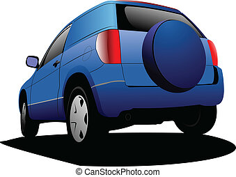 Blue colored car minivan on the road. Vector illustration