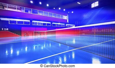 Blue colored indoor tennis court with nobody in it, lens reflections effect added
