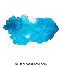 Blue colorful abstract hand draw watercolour aquarelle art paint splatter stain on white background Vector illustration