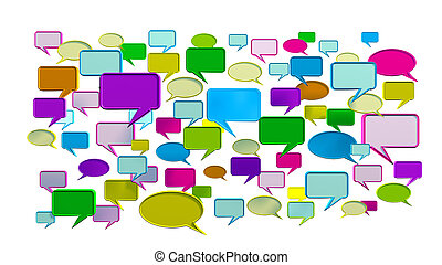 Blue colorful conversation icons - colorful conversation...