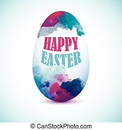 Blue Colorful Egg with watercolor effect for greeting card with 'Happy Easter' text. Artistic splashes.