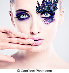 Blue Colorful Makeup. Fashion Woman with Art Makeup Eyes