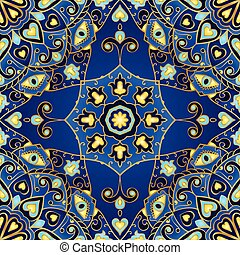 Blue colorful ornament. - Seamless blue vector background....