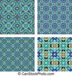 Blue colorful seamless mosaic pattern set