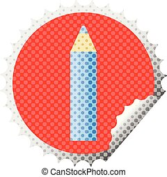 blue coloring pencil round sticker stamp