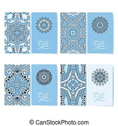 blue colour collection of ornamental floral business cards,...