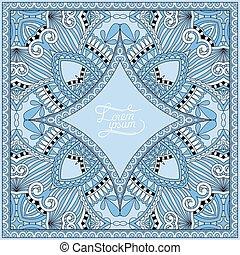 blue colour decorative pattern of ukrainian ethnic carpet design