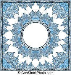 blue colour floral round pattern in ukrainian oriental...