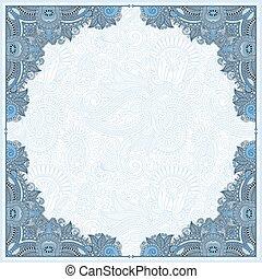 blue colour floral vintage frame, ukrainian ethnic style. ...