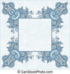 blue colour frame, ethnic ukrainian ornament