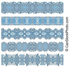 blue colour seamless ethnic floral paisley stripe pattern, ...