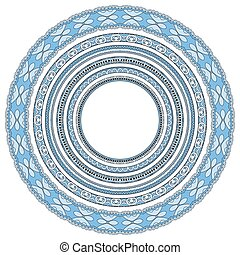 blue colour set of round geometrical frames