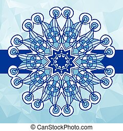 Blue colour vintage vector pattern. Hand drawn abstract mandala. Decorative retro banner. Invitation, wedding card, scrapbooking and others designs
