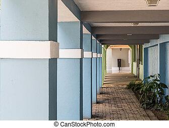 Blue Columns with White Trim
