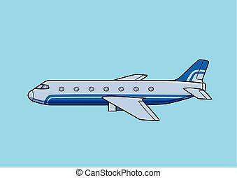 Blue commercial airliner, aircraft, airplane. Flat vector illustration. Isolated on blue background.