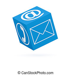 Blue communication cube (isolated) (3D render)