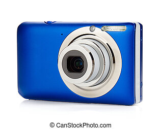 Blue compact camera. Isolated on white background