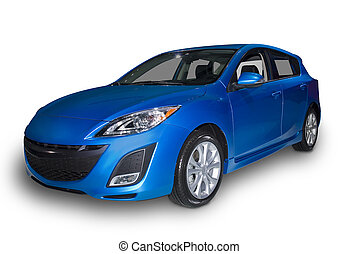 Blue Compact Hybrid - Bright blue four door compact hybrid...