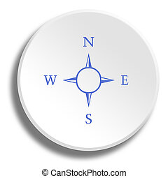 Blue compass in round white button with shadow