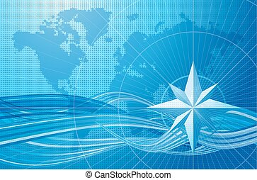 Blue compass vector background.