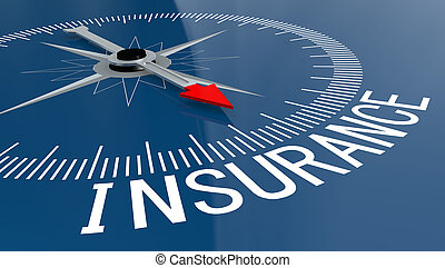 Blue compass with insurance word