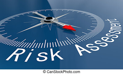 Blue compass with Risk Assessment word, 3D rendering