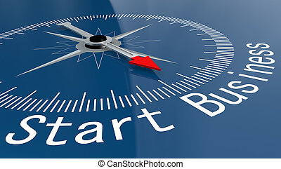 Blue compass with Start Business word