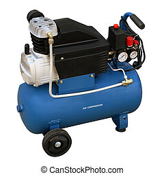 Blue compressor. - Blue compressor isolated on a white...