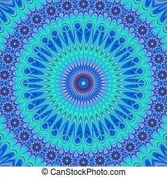Blue computer generated mandala fractal background