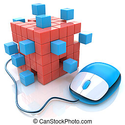 Blue computer mouse connect to cubes structure