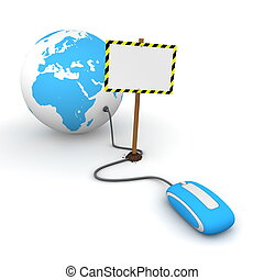 blue computer mouse is connected to a blue globe - surfing and browsing is blocked by a white rectangular sign that cuts the cable - empty template with yellow and black warning stripes