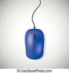 Blue computer mouse on white