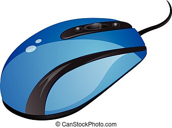 Blue computer mouse vector illustration
