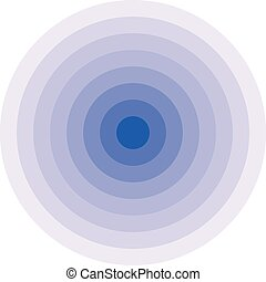 Blue concentric rings. Epicenter icon. Simple flat vector...
