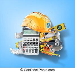 blue., concept., ilustración, costes, construcción, herramientas, cheque, calculadora, 3d