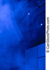 Blue concert lighting - Illumination and smoke effect on a ...
