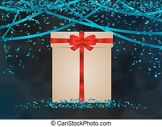 blue confetti with wrapped gift