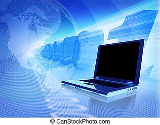 blue connection - computer composition; hi quality ...