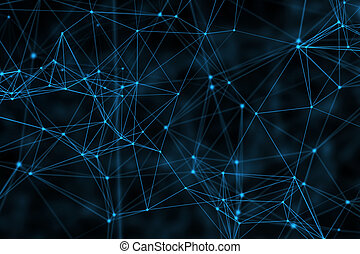 Blue connection lines on black background for technology concept, abstract illustration