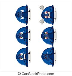 Blue construction helmet cartoon character with various angry expressions