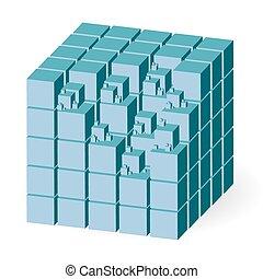 Blue construction set of cubes