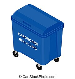 Blue container for sorted paper garbage vector icon.