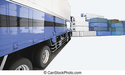blue container truck and container box in shipping logistic station