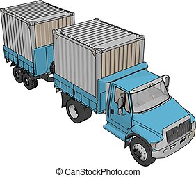 Blue container truck with trailer vector illustration on white background
