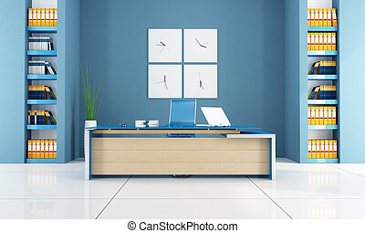 blue contemporary office space - rendering