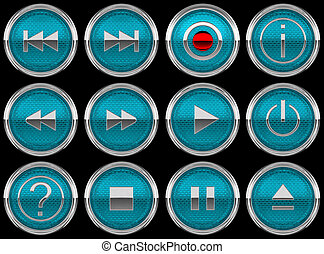 blue Control panel icons or buttons