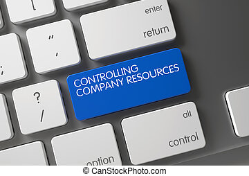 Blue Controlling Company Resources Keypad on Keyboard. 3D.