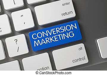 Blue Conversion Marketing Keypad on Keyboard. 3D.